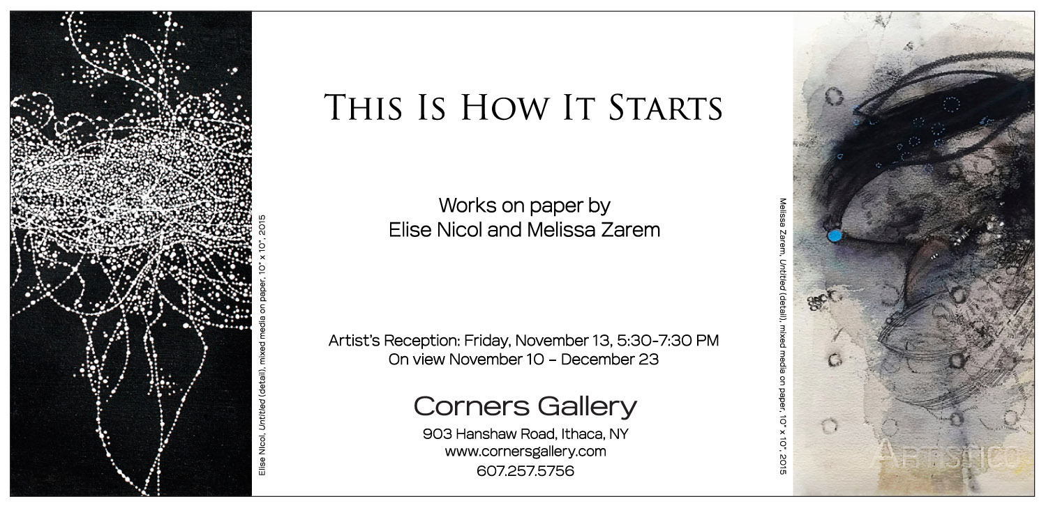 Elise Nicol & Melissa Zarem at Corners Gallery, Ithaca, NY, November 10-December 23, 2015